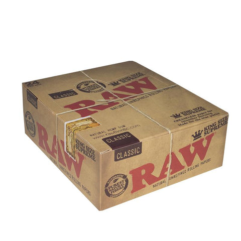 RAW Classic Kingsize Supreme Rolling Paper - 24 Count Box - vapersandpapers.com