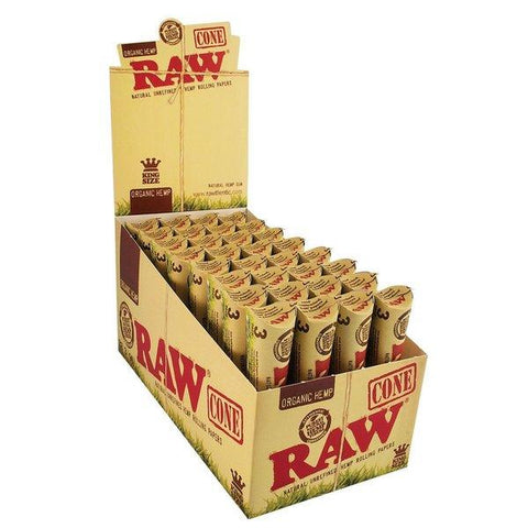 RAW Organic Kingsize Slim Pre-Rolled Cones - 32 Count Box (3-Pack) - vapersandpapers.com