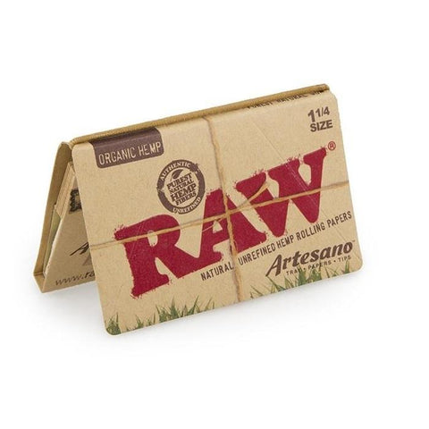 RAW Organic Artesano 1 1/4 Rolling Paper w/ Tips & Tray - 32-Leaf Single Booklet - vapersandpapers.com