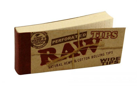 RAW Wide Perforated Hemp Tips - 50-Tips Single Booklet - vapersandpapers.com