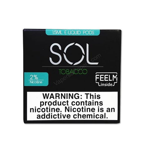 SOL FEELM 1.5mL Pod Tanks - 2% or 5% Salt Nicotine - Tobacco Menthol (2 Pack) - vapersandpapers.com