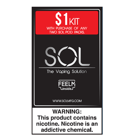 SOL FEELM Pod Vape Starter Kit (Black) - Limited Promotion $1 w/ Purchase of 4 Pods (Your Choice) - vapersandpapers.com