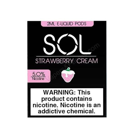 SOL V2 2.0mL Pod Tanks - 5% Salt Nicotine - Strawberry Cream (2 Pack) DISCONTINUED - LIMITED SUPPLY - vapersandpapers.com