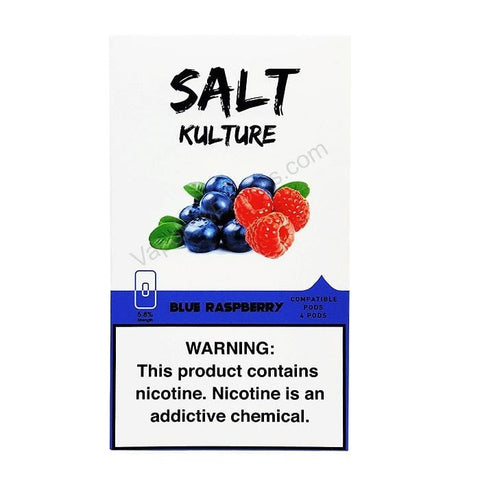 SALT KULTURE JUUL Compatible Pod Tanks - 5.8% Salt Nicotine - Blue Raspberry (4 Pack) DISCONTINUED -  LIMITED SUPPLY - vapersandpapers.com