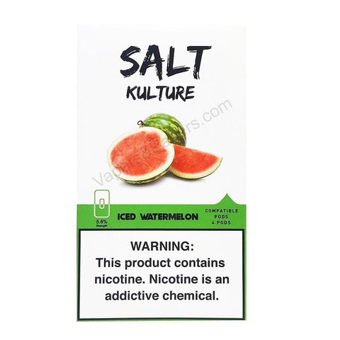 SALT KULTURE JUUL Compatible Pod Tanks - 5.8% Salt Nicotine - Iced Watermelon (4 Pack) DISCONTINUED -  LIMITED SUPPLY - vapersandpapers.com