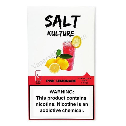 SALT KULTURE JUUL Compatible Pod Tanks - 5.8% Salt Nicotine - Pink Lemonade (4 Pack)