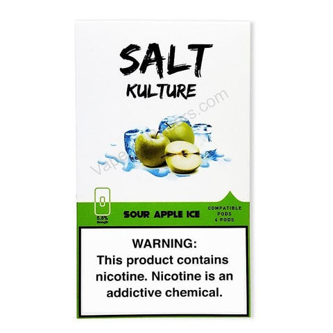 SALT KULTURE JUUL Compatible Pod Tanks - 5.8% Salt Nicotine - Sour Apple Ice (4 Pack) DISCONTINUED -  LIMITED SUPPLY - vapersandpapers.com