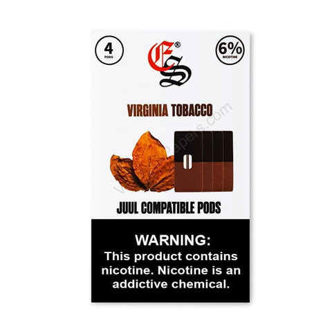 eonsmoke 1.0mL Juul Compatible Pod Tanks - 4% or 6% Salt Nicotine - Virginia Tobacco Flavor (4 Pack) DISCONTINUED -  LIMITED SUPPLY - vapersandpapers.com