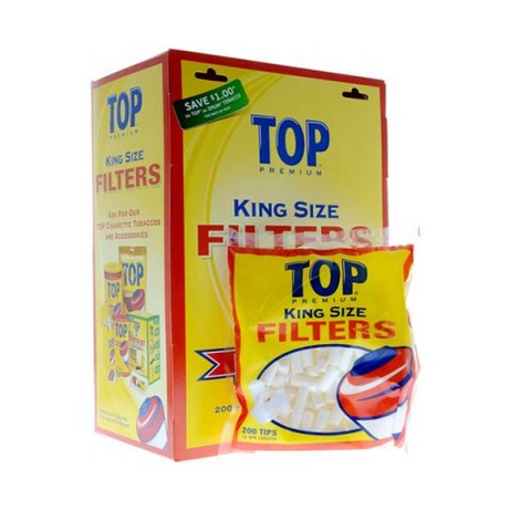 Top King Size Cigarette Filter Tips - 18mm Cigarette Filters (16 Count Box) - vapersandpapers.com