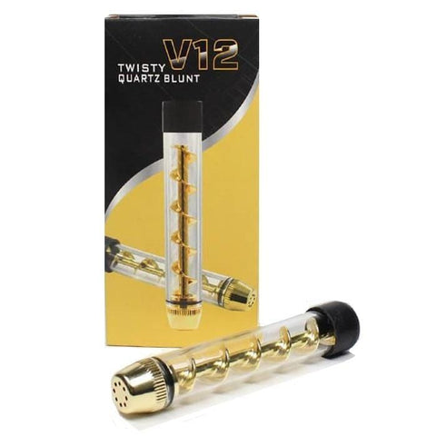 Airistech V12 Twisty Quartz Pipe - Glass Tobacco Pipe (Gold) - vapersandpapers.com