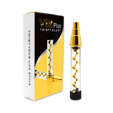 Airistech V12 Plus Twisty Quartz Pipe - Glass Tobacco Pipe (Gold) - vapersandpapers.com