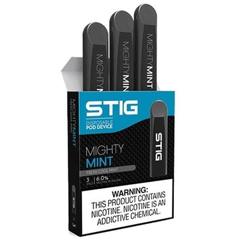 STIG 1.2mL Disposable Pod Vape - 6% Salt Nicotine - Mighty Mint (3 Pack) - vapersandpapers.com