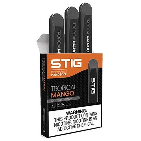 STIG 1.2mL Disposable Pod Vape - 6% Salt Nicotine - VGOD Tropical Mango (3 Pack) - vapersandpapers.com