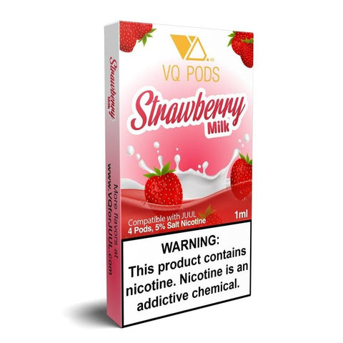 VQ JUUL Compatible Pod Tanks - 5% Salt Nicotine - Strawberry Milk (4 Pack) DISCONTINUED -  LIMITED SUPPLY - vapersandpapers.com