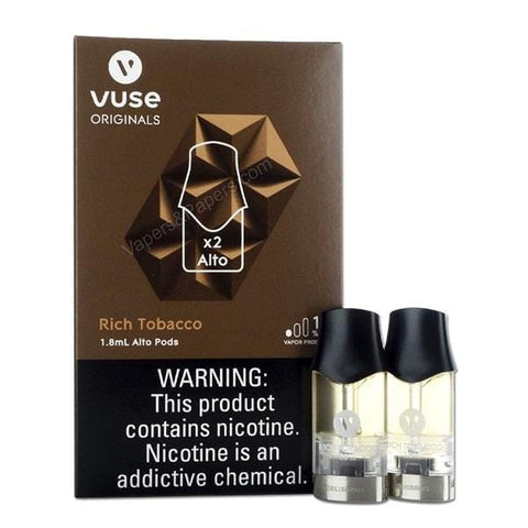 VUSE ALTO 1.8mL Pod Tanks - 1.8%, 2.4% or 5.0% Salt Nicotine - Rich Tobacco (2 Pack) - vapersandpapers.com