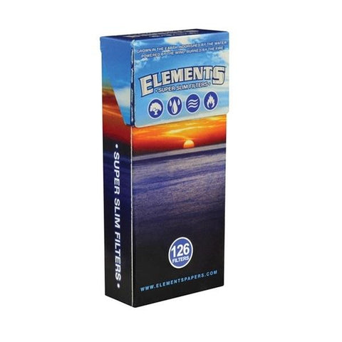 Elements Super Slim Cigarette Filter Tips - 14mm Cigarette Filters (126 Count Single Pack) - vapersandpapers.com