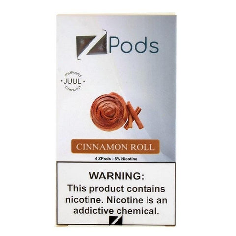 ZiiP JUUL Compatible 4% or 5% Salt Nicotine Pod Tanks - Cinnamon Roll (4 Pack) DISCONTINUED -  LIMITED SUPPLY - vapersandpapers.com