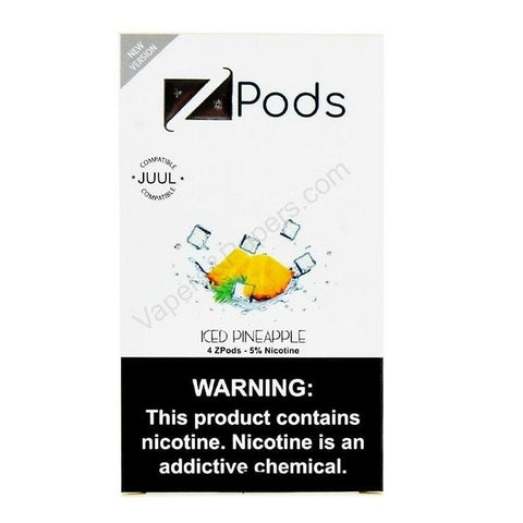 ZiiP JUUL Compatible 4% or 5% Salt Nicotine Pod Tanks - Iced Pineapple (4 Pack) DISCONTINUED -  LIMITED SUPPLY - vapersandpapers.com