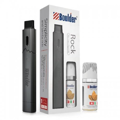 Boulder Rock Pod Vape Starter Kit - Refillable Pod Vaporizer w/ Free 10mL e-Liquid (Black) - vapersandpapers.com
