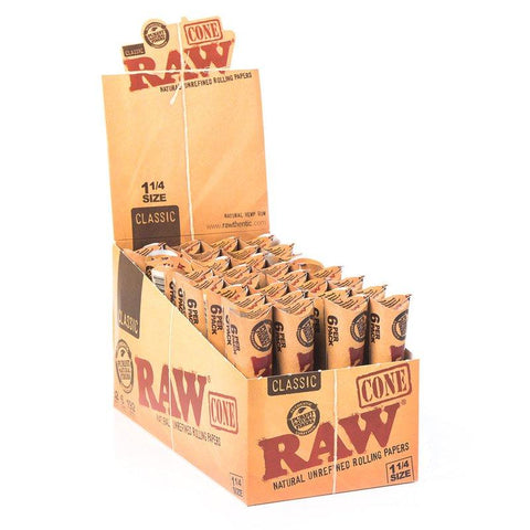 RAW Classic 1 1/4 Pre-Rolled Cones - 32 Count Box (6-Pack) - vapersandpapers.com