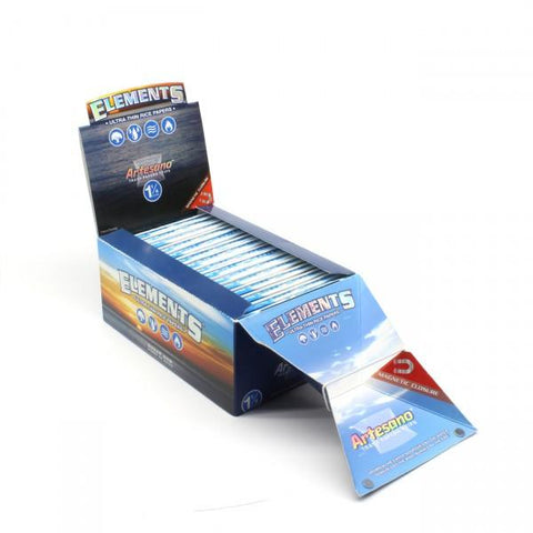 Elements Artesano 1 1/4 Rolling Paper w/ Tips & Tray - 15 Count Box - vapersandpapers.com