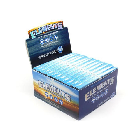 Elements Connoisseur Kingsize Slim Rolling Paper w/ Tips - 24 Count Box - vapersandpapers.com