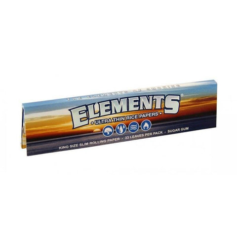 Elements Kingsize Slim Rolling Paper - 33-Leaf Single Booklet - vapersandpapers.com