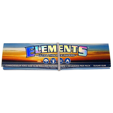 Elements Connoisseur Kingsize Slim Rolling Paper w/ Tips - 33-Leaf Single Booklet - vapersandpapers.com