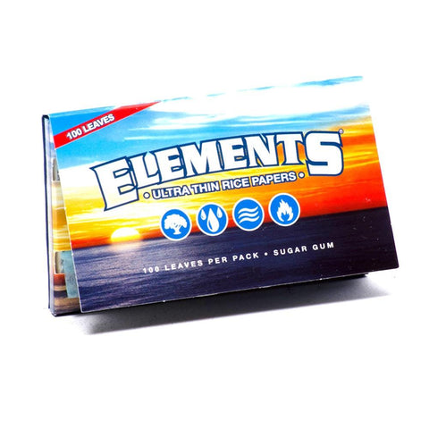 Elements Single Wide Rolling Paper w/ Double Pack - 100-Leaf Single Booklet - vapersandpapers.com