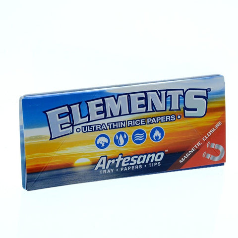 Elements Artesano Kingsize Slim Rolling Paper w/ Tips & Tray - 33-Leaf Single Booklet - vapersandpapers.com