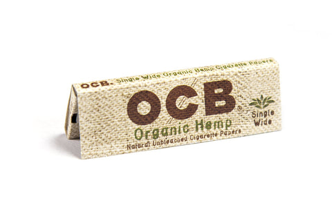 OCB Organic Hemp Single Wide Rolling Paper - 50-Leaf Single Booklet - vapersandpapers.com