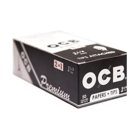 OCB Premium 1 1/4 Rolling Paper w/ Tips - 24 Count Box - vapersandpapers.com