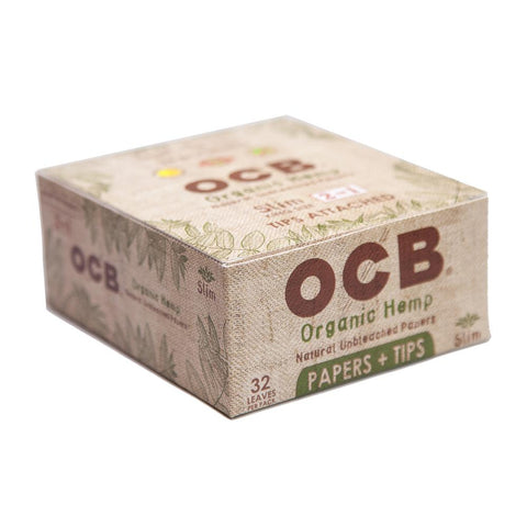 OCB Organic Hemp Kingsize Slim Rolling Paper w/ Tips - 24 Count Box - vapersandpapers.com