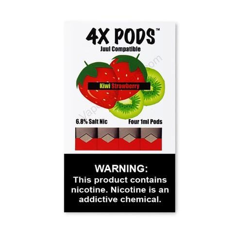 4X JUUL Compatible Pod Tanks - 6.8% Salt Nicotine - Kiwi Strawberry (4 Pack) DISCONTINUED -  LIMITED SUPPLY - vapersandpapers.com