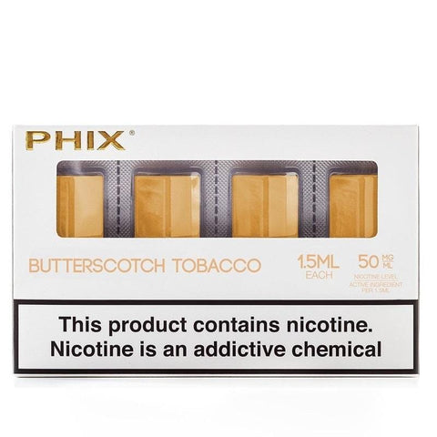 Phix Pod Tanks - Tobacco Butterscotch Flavor (4 Pack) - vapersandpapers.com