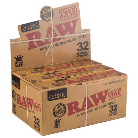 RAW Classic Kingsize Slim Pre-Rolled Cones - 12 Count Box (32 Pack) - vapersandpapers.com