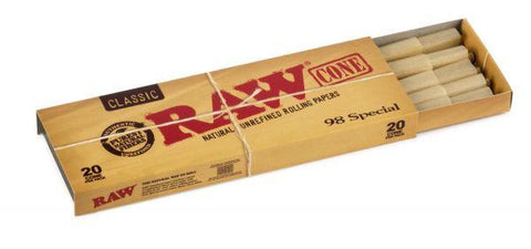 RAW Classic 98 Special Pre-Rolled Cones - 20-Cones Single Pack (20 Pack) - vapersandpapers.com