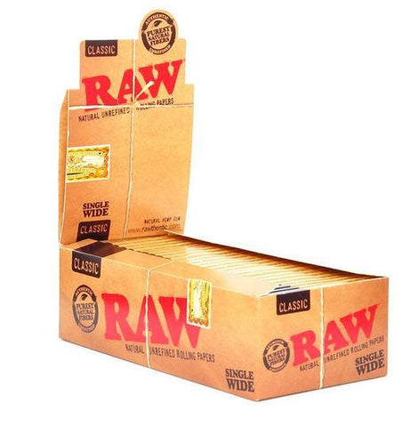 RAW Classic Single Wide Rolling Paper w/ Double Window - 25 Count Box - vapersandpapers.com