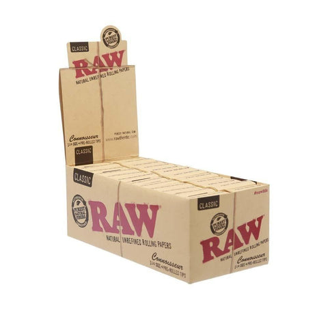 RAW Classic Connoisseur 1 1/4 Rolling Paper w/ Pre-Rolled Tips - 24 Count Box - vapersandpapers.com