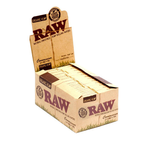 RAW Organic Connoisseur 1 1/4 Rolling Paper w/ Tips - 24 Count Box - vapersandpapers.com