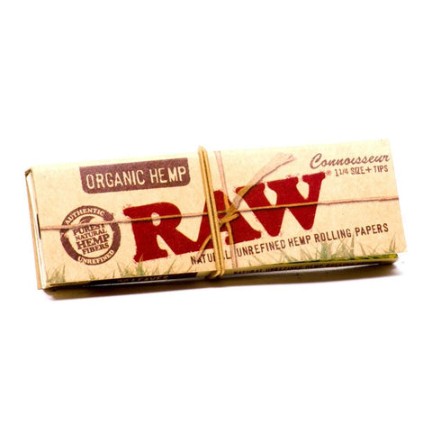 RAW Organic Connoisseur 1 1/4 Rolling Paper w/ Tips - 32-Leaf Single Booklet - vapersandpapers.com