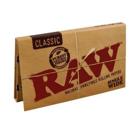 RAW Classic Single Wide Rolling Paper w/ Double Window - 100-Leaf Single Booklet - vapersandpapers.com