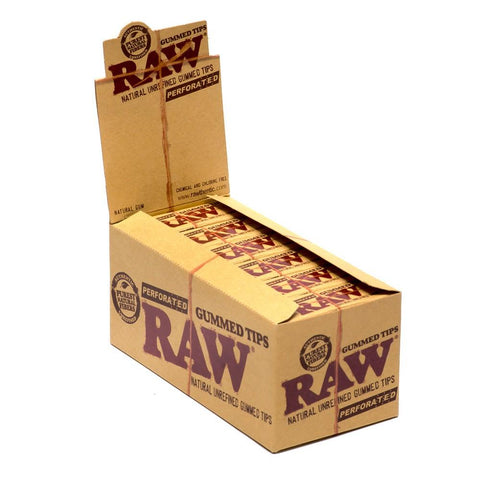 RAW Perforated Gummed Tips - 24 Count Box - vapersandpapers.com