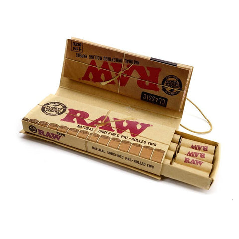 RAW Classic Connoisseur 1 1/4 Rolling Paper w/ Pre-Rolled Tips - 50-Leaf Single Booklet - vapersandpapers.com