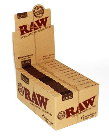 RAW Classic Connoisseur 1 1/4 Rolling Paper w/ Tips - 24 Count Box - vapersandpapers.com