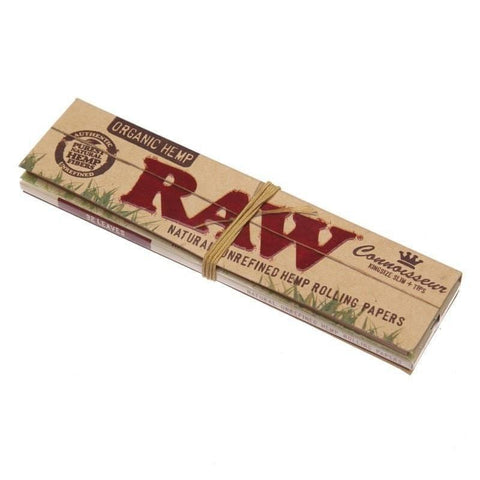 RAW Organic Connoisseur Kingsize Slim Rolling Paper w/ Tips - 32-Leaf Single Booklet - vapersandpapers.com