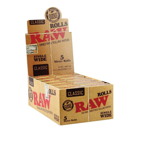 RAW Classic Single Wide 5 Meter Rolling Paper Rolls - 24 Count Box - vapersandpapers.com
