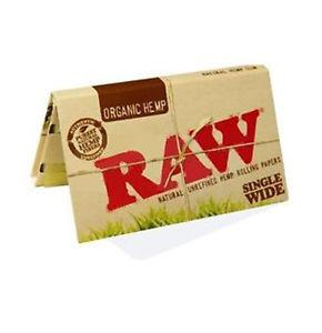RAW Organic Single Wide Rolling Paper w/ Double Window - 100-Leaf Single Booklet - vapersandpapers.com