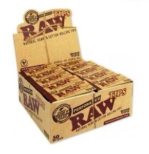 RAW Wide Perforated Hemp Tips - 50 Count Box - vapersandpapers.com