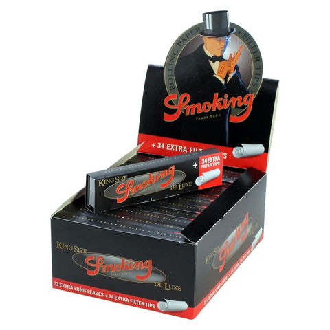 Smoking Deluxe Kingsize Rolling Paper w/ Tips - 50-Count Box - vapersandpapers.com